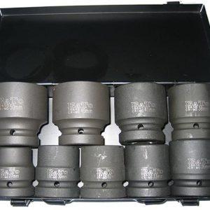 """Krafthylsor 1"""" 27-50mm kort 9 delar"""