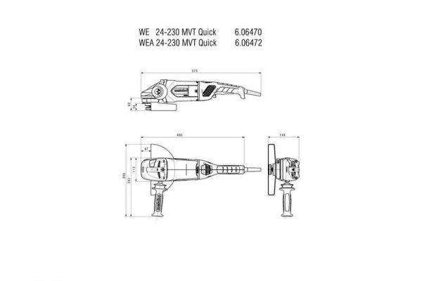 Metabo Vinkelslip WEA 24-230 MVT Quick 2400W