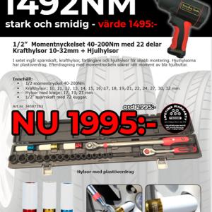 "RAKETEN - Momentnyckelsats 1/2"" 22-del + Mutterdragare 1492m"